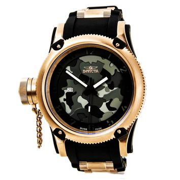 Invicta 11341 Men s Russian Diver Lefty Black Camouflage Dial Black Rubber  Strap Rose Gold Tone Stainless b9f95821f8