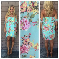 Mint Bouquet Of Flowers Off Shoulder Dress