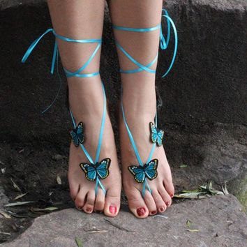 1Pair 2017 Butterfly Blue Ribbon Bohemian Anklet Barefoot Sandals Sexy Bride Shoes Beaches Yoga Swimming Pool