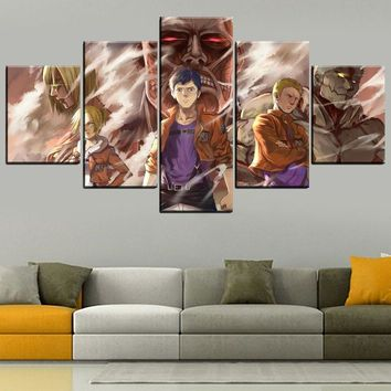 Cool Attack on Titan Wall Art Modular Picture Decoration Framework 5 Panel  Painting For Living Room Canvas HD Printed Anime Poster AT_90_11