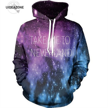 3D Space Galaxy Printed Hooded Letters Take Me No Neverland Hoodie Men Women Psychedelic Life Of Flower Hoodies Pullovers Tops