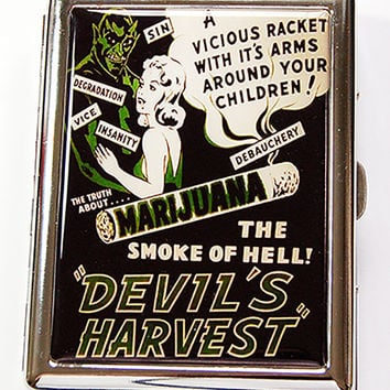 Funny Cigarette Case, Metal Wallet, Metal cigarette case, Marijuana case, cigarette box, cigarette case humor, retro cigarette case (4880)