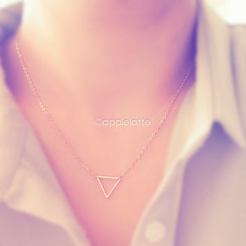 chevron triangle necklace in gold/silver/rose gold, simple triangle necklace, geometric necklace