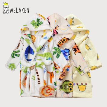 Cute Cartoon Pattern Children Robes Autumn Long Sleeve Baby Pajamas Boys Girls Sleepwear Bathrobes Hooded Soft Kids Robes