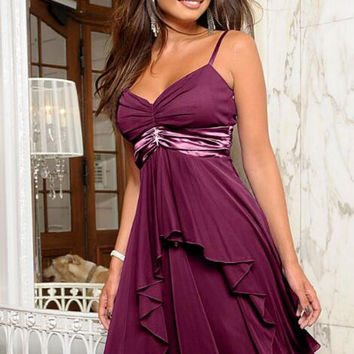 Strappy Chiffon Flare Prom Dress 13309