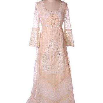 Vintage Cream Lace & Applique Wedding Dress Empire Waist 1970s 35-30-48
