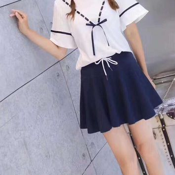 Women's Leisure  Fashion Letter Bow-Knot Printing Short Sleeve  Elastic Short Skirt Two-Piece Casual Wear
