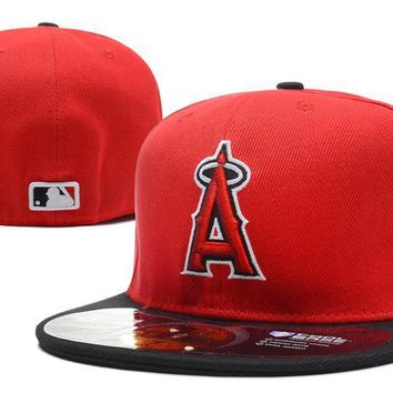 PEAPON Los Angeles Angels of Anaheim New Era 59FIFTY MLB Cap Red-Black