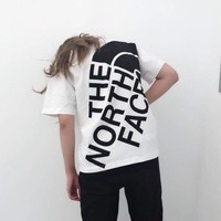 """""""The North Face"""" Unisex Casual Classic Letter Logo Print Couple Short Sleeve T-shirt Top Tee"""