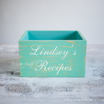 Rustic wooden recipe box recipe box and cards wooden recipe box bridal shower recipe box distressed recipe organizer personalized recipe box