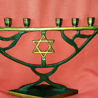 Vintage Hanukkah Menorah Green Enamel On Brass With Star of David in thr Center Made In Israel