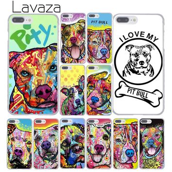 Lavaza Beware of  pitbull art dog PIt Bull Hard Coque Shell Phone Case for Apple iPhone 8 7 6 6S Plus X 10 5 5S SE 5C 4 4S Cover