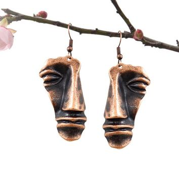Exaggeration Face Earrings Alloy Abstract Art Stone Art Bohemia People Face Earrings For Women EarRings Fashion Jewelry Gift