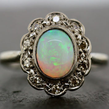 Art Deco Opal Ring - Antique Opal & Diamond Ring 18ct White Gold