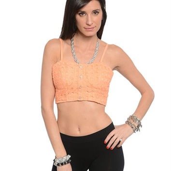 Lt Coral  Front Crop Top w Pearl Button Trim and Zip Up Back