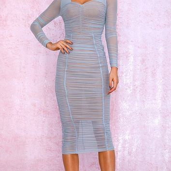 Getting It Right Blue Sheer Mesh Long Sleeve Sweetheart Neck Ruched Bodycon Midi Dress