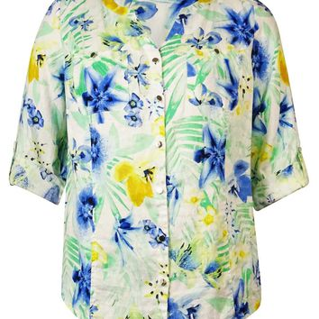 JM Collection Women's Tropical Print Linen Buttoned Shirt