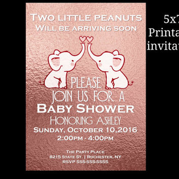 Unique Twins Baby shower invitation, rose gold, White, Twins elephant baby shower invitation,modern, grey, mint, 5x7 printable invitation,