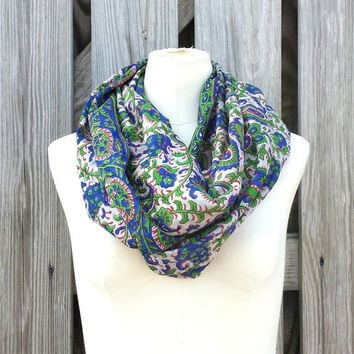Infinity Scarf - Beautiful Upcycled VINTAGE Silk SARI SCARF - Royal Blue Green Paisley