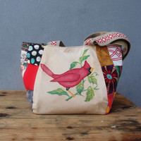 Woodland Bird Bag - Vintage Embroidery and Patchwork