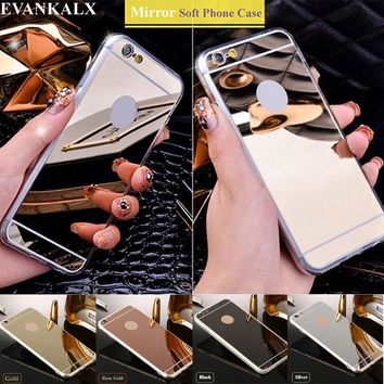 EVANKALX Mirror Shiny Case For iPhone 5s se 5 Soft TPU edge Phone Cases For iPhone 6 6s 7 Back Cover For iPhone 6 6S 7 Plus