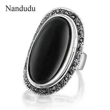 Nandudu HOT Vintage Jewelry Oval Black And Black Enamel Ring For Women 925 Silver Marcasite Crystal Gift Free Shipping R1656