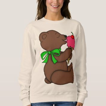 Teddy Bear with Ice Cream Cone Print Sweatshirt
