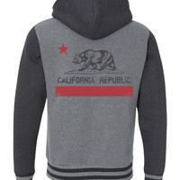 California Flag Premium Unisex Varsity Full-Zip Hooded Sweatshirt