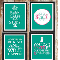 Dorm Decor Custom Colors 4 Print Set 8x10
