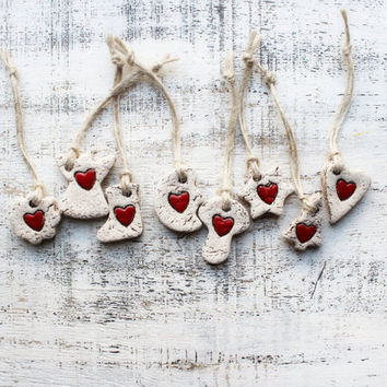 Scandi Christmas ornaments boho Christmas decoration rustic cottage chic shabby chic red white gold Scandinavian
