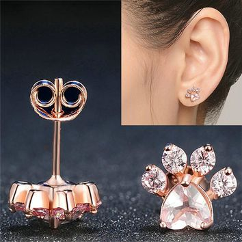New Shiny Pink Stud Earrings CZ Bear Jewelry Dog Paw Print Earring Female Piercing Rose Gold Small Animal Earrings for Women