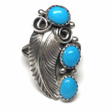 Vintage Navajo Sleeping Beauty Turquoise Feather Ring Size 7.5