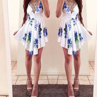 Asymmetrical V-Neck Floral Print Dress