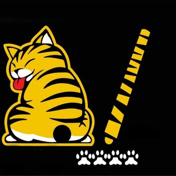 Car Auto Body Sticker Funny Cat Tail Rear Windshield Window Wiper Self-Adhesive Side Truck Vinyl Graphics Decals White/Yellow