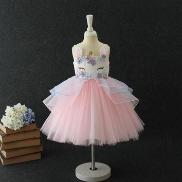 Unicorn Tutu Dress Princess Dress Girls Birthday Party Dress Children Kids Flower Girls Unicorn Dress Halloween Costume