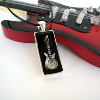 Electric Guitar black necklace. Unisex rock jazz music musician jewelry minimal small rectangle silver charm pendant teenager. Custom color