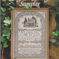 """English Cottage Sampler counted cross stitch pattern booklet 24"""" x 16"""" design with swans, ivy, country house designed by Teresa Wentzler"""