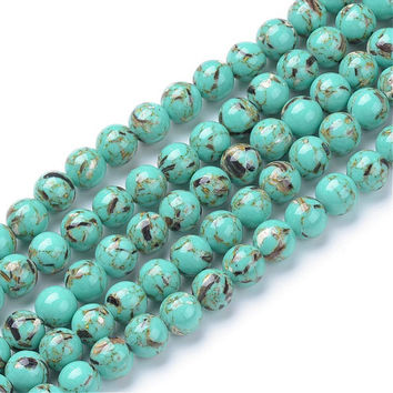 15 Inch Strand - 8mm Round Turquoise Beads With Shell Inlay - Howlite Beads - Gemstone Beads - Jewelry Supplies