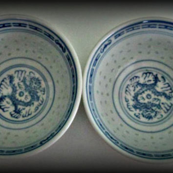 Vintage Lot Of 2 Rice Eyes Chinese Porcelain Bowls Blue and White Dragon Flower