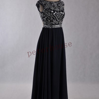Navy Blue Beaded Prom Dresses with Peacock Corsage,Sexy Backless Bridesmaid Dress,Evening Dresses ,Formal Party Dresses,Beaded Prom Dresses