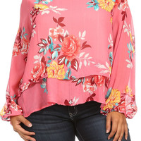 Plus Size Pink Layered Floral Top