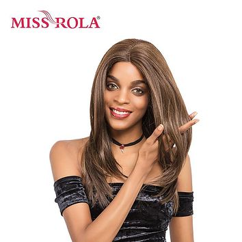 Miss Rola Wigs Synthetic Hair Medium Long Kanekalon Lace Frontal Wigs For Black Women 14inch 4/27# Brown Straight Hair Wigs
