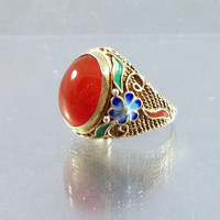 Chinese Export Sterling Filigree Carnelian Enamel Ring Vintage - Size 6