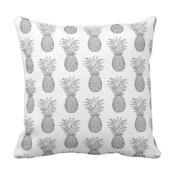 Tropical Pineapple Fruit Black and White Throw Pillow