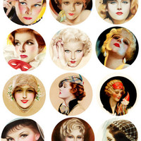 vintage women pinup girls faces collage sheet 2.6 inch circles clip art graphics images digital download diy craft printables tags cards