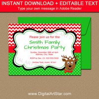 EDITABLE Christmas Invitations, Reindeer Invitation, Printable Holiday Invitations, Reindeer Party Invites, Christmas Invitation Template C4