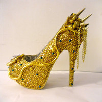 RHINESTONE SNAKE HEELS (Medusa Shoes w/ Spikes/Chains)