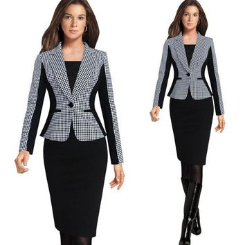 DCCKHY9 2016 New Arrival Women Long Sleeve Notched Style Blazer Suits Office Casual  Plaid Color Clothing Female Blazer Single Breasted