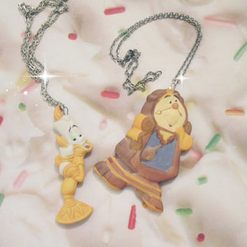 Cogsworth & Lumiere Necklace Set Beauty And The Beast Belle Cute Clock Candlestick Silver Disney Birthday Party Gift DIsneyland