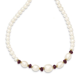 14K Fresh Water Cultured Pearl and Faceted Garnet Bead Necklace XF443